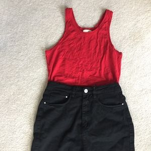 red cotton tank top